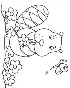 coloriage du raton dans les fleurs