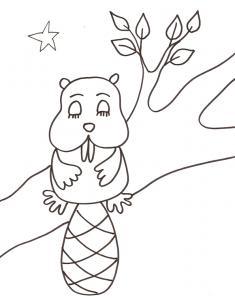 coloriage du raton dormant dans l'arbre