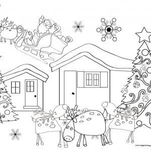 Coloriage des rennes devant le chalet du Père Noël
