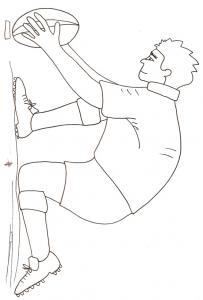 coloriage d'un joueur de rugby plaçant  le ballon