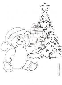 Coloriage du sapin de Noël et de l'ours