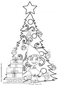 Coloriage du sapin de Noël et du lutin dessin 14