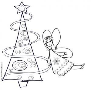 Coloriage du sapin de Noël et de l'ange