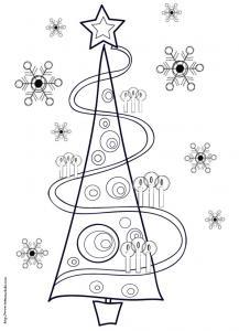 Coloriage du sapin de Noël aux bougies