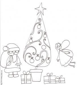 Coloriage du sapin de Noël avec l'ange et le Père Noël