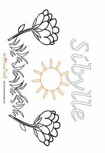Coloriage prénom Sibylle - Jardin fleuri