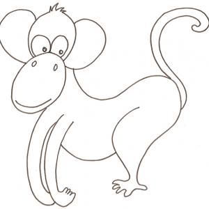 coloriage d'un singe rigolo