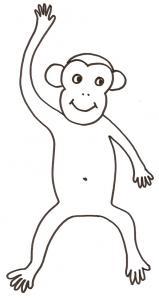 coloriage d'un singe : dessin bras levé