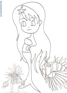 Sirene coloriage manga à imprimer