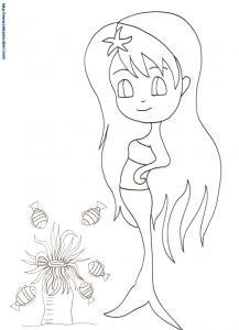 Sirène et anémone un coloriage manga