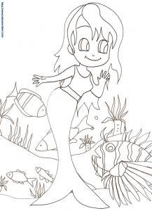 Jeune sirène parlant aux poissons 19