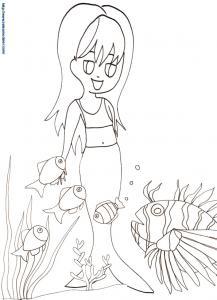 Coloriage sirène et les poissons
