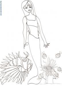 Coloriage de la sirène et des poissons
