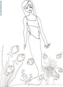 Coloriage sirène, poissons et anémone
