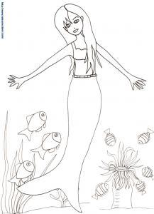 Sirène qui danse avec les poissons
