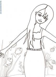 Sirène, grand coloriage
