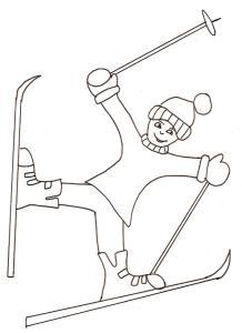 Coloriage du skieur acrobate