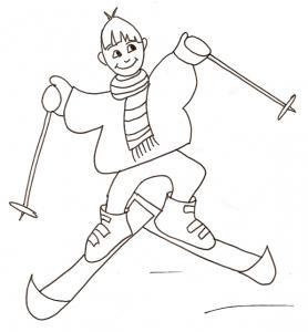 Coloriage du skieur débutant