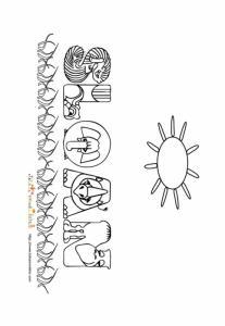 Coloriage prénom Sloan - lettres animaux