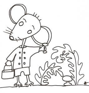coloriage de Mimi souris : Mimi ramasse des champignons