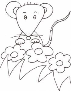 Coloriage de la petite souris dans les fleurs