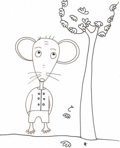 coloriage de Mimi souris : Mimi regarde les feuilles tomber