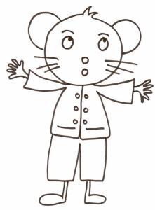 coloriage d'une souris en habits