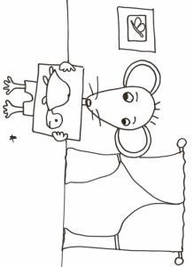 coloriage de Mimi souris : Mimi a dessiné une tortue