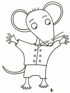 coloriage de Mimi souris : Mimi leve les bras