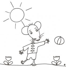 coloriage de Mimi souris : Mimi joue au ballon