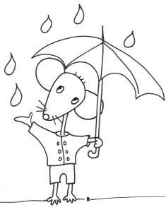 coloriage de Mimi souris : Mimi sous son parapluie