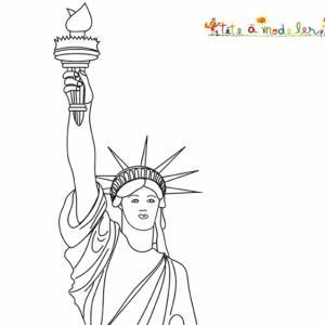 Coloriage du buste de la statue de la liberté