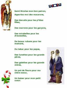 Imprimer la chanson de saint Nicolas (version lorraine)