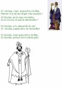 """Imprimer la chanson """"Saint Nicolas c'est aujourd'hui ta fête"""""""