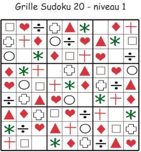 Imprimer le sudoku 20 pour les enfants de maternelle