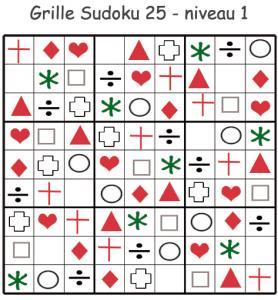 Sudoku 25 à imprimer pour la maternelle