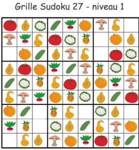 Sudoku 27 légumes à imprimer pour les enfants de maternelle