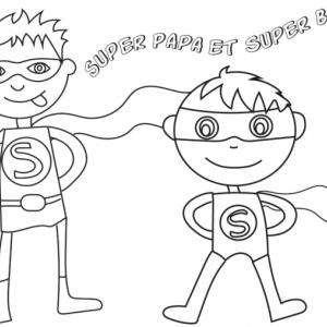 Coloriage super papa et super boy
