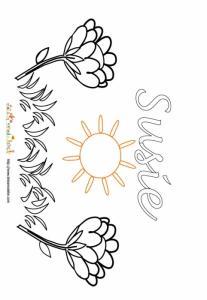Coloriage prénom Susie - Jardin fleuri