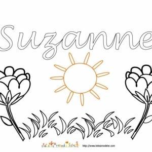 Coloriage prénom Suzanne - Jardin fleuri
