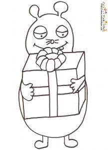 Coloriage monsieur taupe et le cadeau