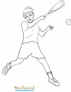 Joueur de tennis à colorier