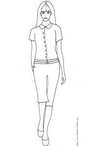 Coloriage du Top Model avec chemisier et pantalon taille basse