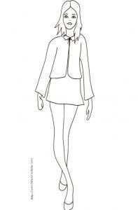 Coloriage du Top Model avec chemisier et jupette