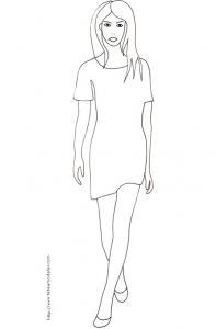 Coloriage du Top Model avec une petite robe