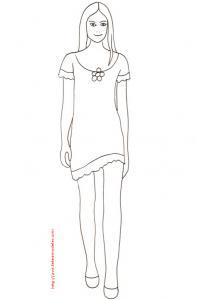 Coloriage du Top Model avec une petite robe à la fleur
