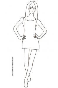 Coloriage du Top Model à la robe droite et courte