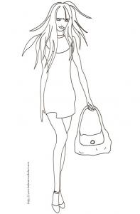 Coloriage du Top model au sac et cheveux au vent