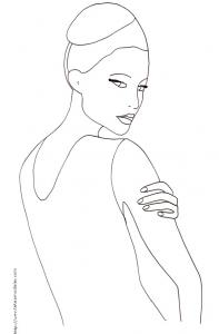 Coloriage du Top Model dessin 30 - manequin au chignon