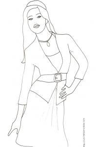 Coloriage du Top Model avec veste et grosse ceinture